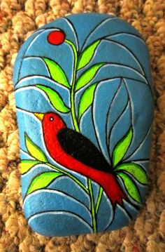Stained Glass Bird - Painted rock