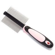Iconic Pet - Double Sided Pin Comb - Pink - Diameter of Steel Pin : 1.2mm (dense side),1.5mm (sparse side). Length of Pin:25mm. Number of Pins:32pcs (dense side), 25pcs (sparse side).Iconic Pet double sided pin comb has a comfortable grip to handle and it is made of TPE and PP, which are eco-friendly.The pins are made of stainless steel.Instructions to Use:* Always brush your pet before bathing because water may tighten the existing tangles.* Double sided stainless steel pins of different…