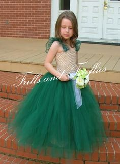 Hunter Green and Beige Flower Girl Dress, Tutu Dress in Hunter Green/ Wedding, Party Dress, Birthday, Sizes Baby up to Size 8