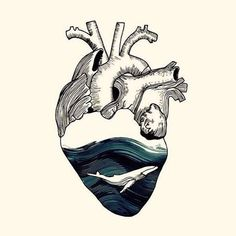 Ocean Heart Tattoo is Very Liked by Everyone - Art And Illustration, Illustrations, Herz Tattoo, Art Graphique, Heart Art, Art Plastique, Art Inspo, Amazing Art, Cool Art