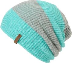 345bbcf9c9039 Stay warm and fashion friendly in the Piper green and grey Rugby striped  beanie from Empyre Girls