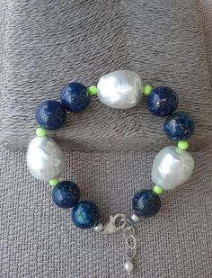 Lapis lazuli, white shell pearl and yellow crystal bracelet, Handcrafted bracelet from Spain, statement bracelet, gift for her