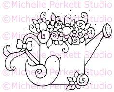 Digital stamp Image Gardening Garden Watering Can Birds stamping scrapbooking cardmaking
