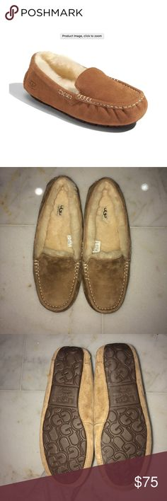 Ansley Water Resistant Slipper UGG WORN ONCE ONLY SELLING BECAUSE THEY ARE TOO BIG PERFECT CONDITION PERFECT HOLIDAY GIFT  Size Info Whole sizes only; for 1/2 sizes, order next size up. Snug-fitting; will stretch and conform to your foot with wear.  Details & Care A soft, comfortable and remarkably durable moccasin slipper from UGG® is made from water-resistant suede so you can wear it on errands as well as around the house or around campus. The soft, cozy lining is made from genuine…