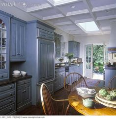 KITCHEN Classic Colonial Georgian Style Raised Paneling Teal