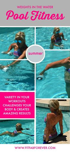 Exercising in the pool is one of the best ways to get leaner and stronger this summer, by utilizing your body weight and pool weights, gloves & water belt. Swimming Pool Exercises, Pool Workout, Swimming Videos, Water Aerobic Exercises, Yoga Exercises, Fitness Exercises, Summer Body Workouts, Easy Workouts, Swim Workouts