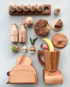 Wooden breakfast kitchen set Toddler Toys, Kids Toys, Wooden Toys For Kids, Toddler Playroom, Kids Toy Boxes, Making Wooden Toys, Wooden Baby Toys, Playroom Ideas, Toddler Activities