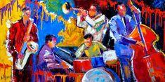 "Original Abstract Jazz Art Music Painting Musical Instruments ""Five Guys Named Joe' ""by Texas Artist Debra Hurd"