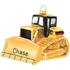 Personalized Bull Dozer Glass Ornament - 1133082 - $13.99 #personalized #bulldozer #ornament #Christmas #BronnersChristmasWonderland #Bronners
