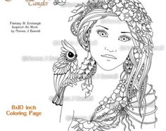A Fairies Hat Fairy Tangles Printable Coloring by FairyTangleArt