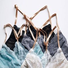 Delicate scalloped lace with elegant gold straps in the prettiest hues. What's not to love about Allie? — Shop Allie Bralette by Sokoloff Lingerie in Aqua/Grey/Black/White: www.summerandpeach.com   #summerandpeach Scalloped Lace, Aqua, Delicate, Peach, Classy, Comfy, Lingerie, Tote Bag, Photo And Video
