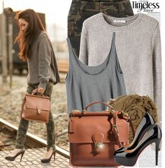 Cargo pants, sweater and messenger bag