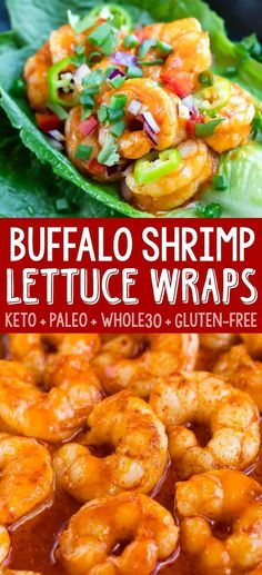 These spicy Buffalo Shrimp Lettuce Wrap Tacos are fast, flavorful, and ready to Taco Tuesday your face off! Each tasty taco is gluten-free, paleo-friendly, and keto friendly too. #shrimp #seafood #pescatarian #paleo #whole30 #keto #glutenfree #healthy #buffalo