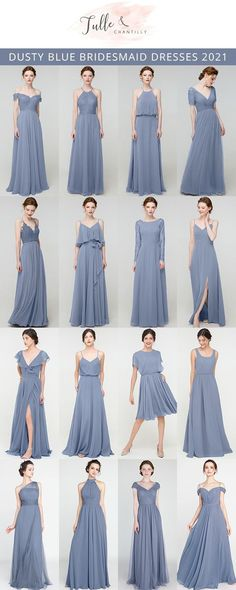 dusty blue wedding color combo ideas with bridesmaid dresses 2021 trend#wedding #weddinginspiration #bridesmaids #bridesmaiddresses #bridalparty #maidofhonor #weddingideas #weddingcolors #tulleandchantilly Short Bridesmaid Dresses, Bridesmaids, Wedding Dresses, Dusty Blue Weddings, Plan My Wedding, Long Shorts, Maid Of Honor, Wedding Trends, Weddingideas
