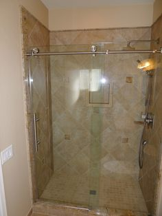 """Tiled Shower Edge shower with 16"""" x 24"""" slate atunno wall tile, golden gate stacked"""