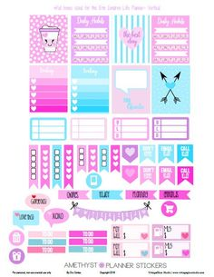 Free Printable Amethyst Planner Stickers from Vintage Glam Studio