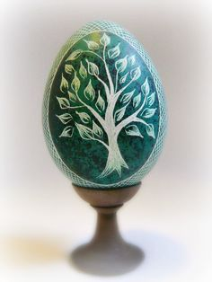 Easter Spring Green Tree Egg - Hand Scratched Real Turkey Egg Unique ETCHED Lithuanian Carved Pysanky - by Christine Luschas - etsy.com