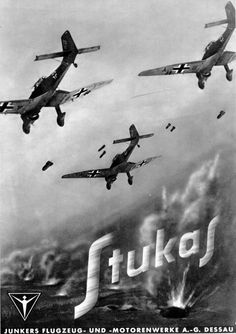 "A poster promoting the production of the Ju-87 ""Stuka"" (an abbreviation for Sturzkampfflugzeug, or ""dive bomber"") by Junkers Flugzeug und Motorenwerke A.G. in Dessau, Germany. It is a reflection of the sociology of the era that assisting in the dropping of bombs was seen as an admirable industrial enterprise, a phenomenon shared by Boeing, Grumman, and other American aircraft wartime advertising."