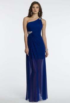 Camille La Vie Long Short Mesh Prom Dress in Blue