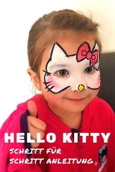 Kinder Schminken leicht gemacht: Einfache Anleitung / Vorlage für ein Hello Kitty Katzengesicht #Facepaint #Kids #Face #painting #tutorial