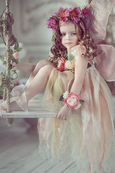 #Fairy #baby #child #swing #costume #rose #forest #faery #cute
