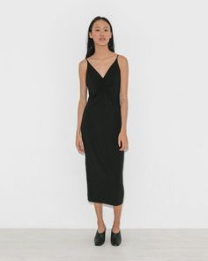 T by Alexander Wang Shirred Front Sleeveless Dress in Black | The Dreslyn
