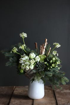 Like a walk through high alpine forests, this piece embraces the simplicity of nature: 'Woodland Silver' by Winston Flowers. White Flower Arrangements, Christmas Arrangements, Woodland Flowers, Forest Flowers, Alpine Flowers, Church Flowers, Love Flowers, Beautiful Flowers, Winston Flowers