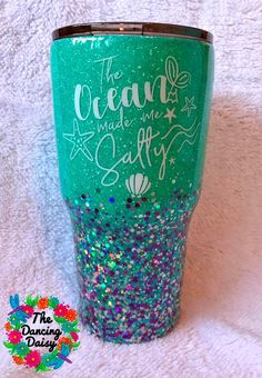 """30 oz """"The Ocean made me Salty"""" tumbler – The Dancing Daisy Designs Vinyl Tumblers, Personalized Tumblers, Custom Tumblers, Glitter Cups, Glitter Tumblers, Glitter Glasses, Thermos, Dancing Daisy, Tumblr Cup"""