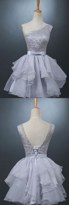 Lovely One-shoulder Short Chiffon Homecoming Dress Lace-up With Bowknot-319371