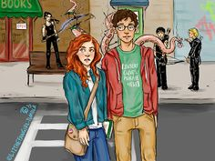 Clary with her 14 years old friend Simon. She doesn't notice what's been going in behind her.