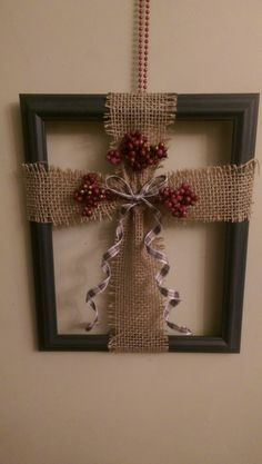 8x10 burlap cross in picture frame                              …                                                                                                                                                                                 More