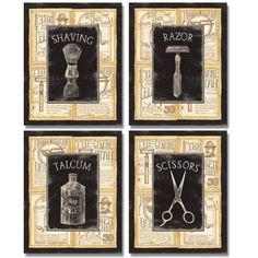 Amazon.com: 4 Vintage Barber Shop Art Prints Shave Tijeras 8 x 10: Baño Art Prints: Pósters e impresiones