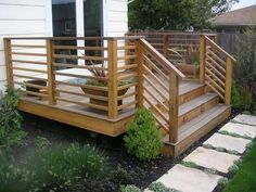 Garden & Patio, Simple Wood Horizontal Deck Railings With Stairs ~ Horizontal Deck Railing: The Advantages and Disadvantages