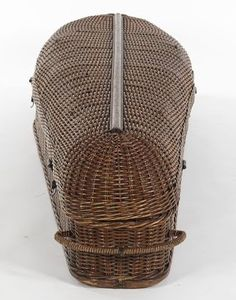 Victorian antique wicker cooling coffin (rubber corpse included). A cooling coffin was kept at the most prestigious homes to keep body contained and aireated until such time as a doctor could arrive to pronounce the person dead