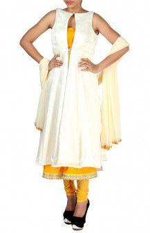 Raw Silk Yellow Kurta With Cream Jacket  Rs. 5,300