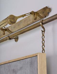 Brass Picture Rail System - Bespoke Brass Picture Rails by Collier Webb Diy Picture Rail, Picture Rail Hanging, Hanging Pictures, Wood Picture Frames, Picture Rail Molding, Art Hanging System, Hanging Wall Art, Wall Railing, Inspiration Wall