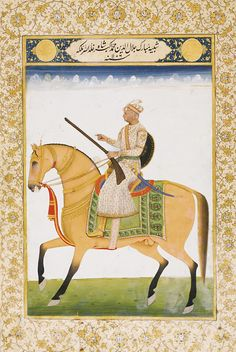 A PORTRAIT OF EMPEROR AKBAR, NORTH INDIA, 19TH CENTURY Gouache with gold on paper, illuminated cartouche above with inscription shabihi mubarak Jalal al-Din Muhammad Akbar Shah khalad Allah mulkahu and spurious date of 1106 AH / 1694 AD, borders of scrolling foliate tendrils in gold and blue, reverse with a page of nasta`liq calligraphy signed by Ijaz Ruqmhan, borders with bold foliate motifs in blue and gold