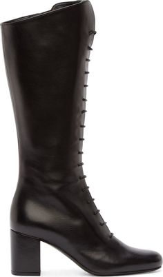 """Knee-high buffed leather boots in black. Round toe. Decorative lace-up closure. Zip closure at inner side. Covered block heel. Leather sole. Tonal stitching. Approx. 2.75"""" heel."""
