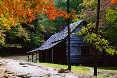 The old cabins on the Roaring Fork Nature Trail near Gatlinburg, Tennessee, are a timeless subject i... - Heidi Strauss/Courtesy Country Magazine
