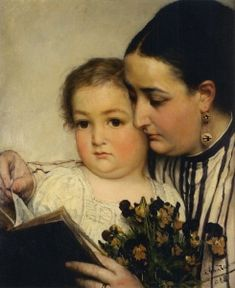 Portrait of Mme Bonnefoy and her son - Sir Lawrence Alma-Tadema - The Athenaeum