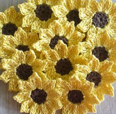 Crochet Sunflowers Daisies Small Appliques by IreneStitches