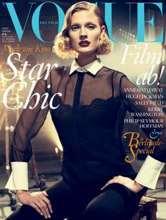 Constance Jablonski covers the February 2013 issue of Vogue Germany.