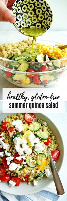 Summer quinoa salad combines the best of summer produce in a easy, nutritious, and produce-filled salad! #quinoa #quinoasalad #summersalad #grainsalad #healthysalad #bbqsalad #summerpartysalad