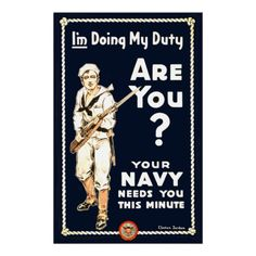 Vintage U.S. Navy Military Recruitment Poster