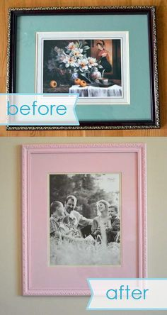 chunky pink frame makeover before and after Ugly Photos, Big Family Photos, Makeover Before And After, Painted Furniture, Room Decor, Ads, Crafty, Projects, Frames