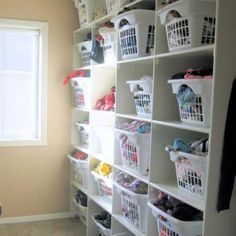 This is my friend's genius laundry grid.. No dressers no hanging