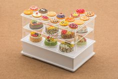 Dollhouse Miniatures Complete Collection Assortments Fruit Tart Pie Bakery Pastry & Cake in Right-Handed L-Shaped Showcase (Removable)