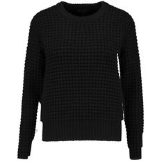 Marc by Marc Jacobs Wally waffle-knit wool-blend sweater (190 AUD) ❤ liked on Polyvore featuring tops, sweaters, black, marc by marc jacobs top, waffle knit sweater, chunky sweater, relaxed fit tops and thick knit sweater