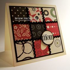 handmde Quilt Card ... red, white and black ... like the rick rack covering the lines ...