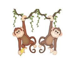 Safari Monkey Mural wall decal for baby girl or boy Noah's Ark animal nursery or any children's jungle room decor #decampstudios